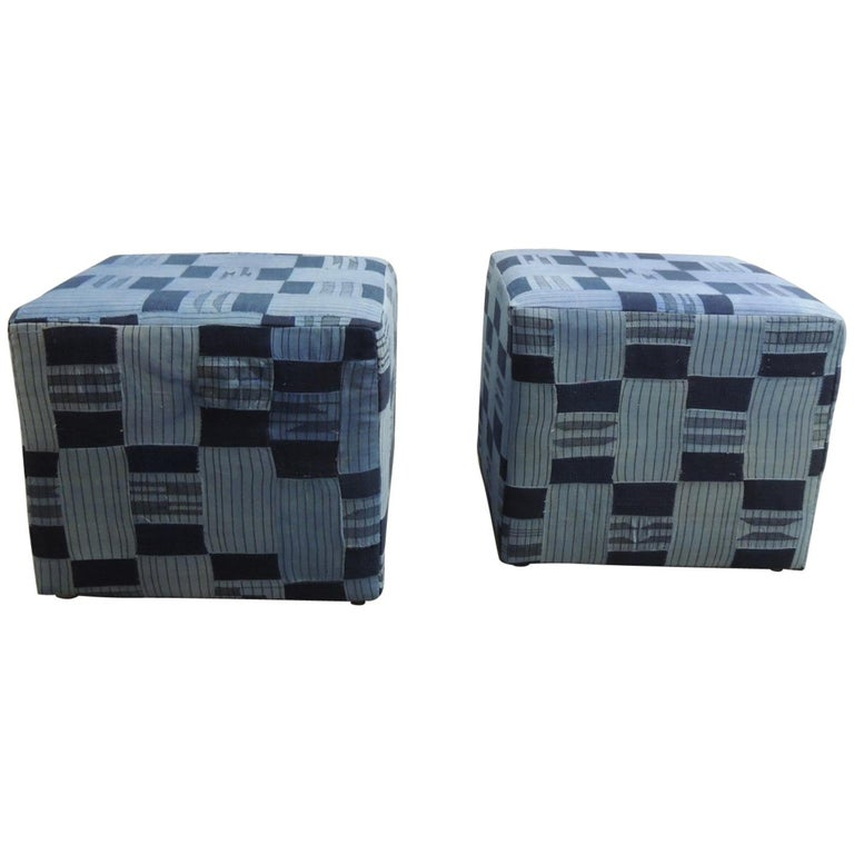 Pair of Vintage African Blue and Indigo Woven Textile Custom Square Ottomans For Sale