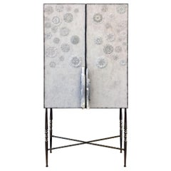 Customizable White Blossom Glass Mosaic Bar with Selenite Handles by Ercole Home