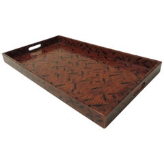 Faux Tortoise Finish Lacquered Rattan Serving Tray with Open Handles