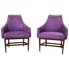 Kipp Stewart for Directional Mid-Century Modern Lounge Chairs, Pair
