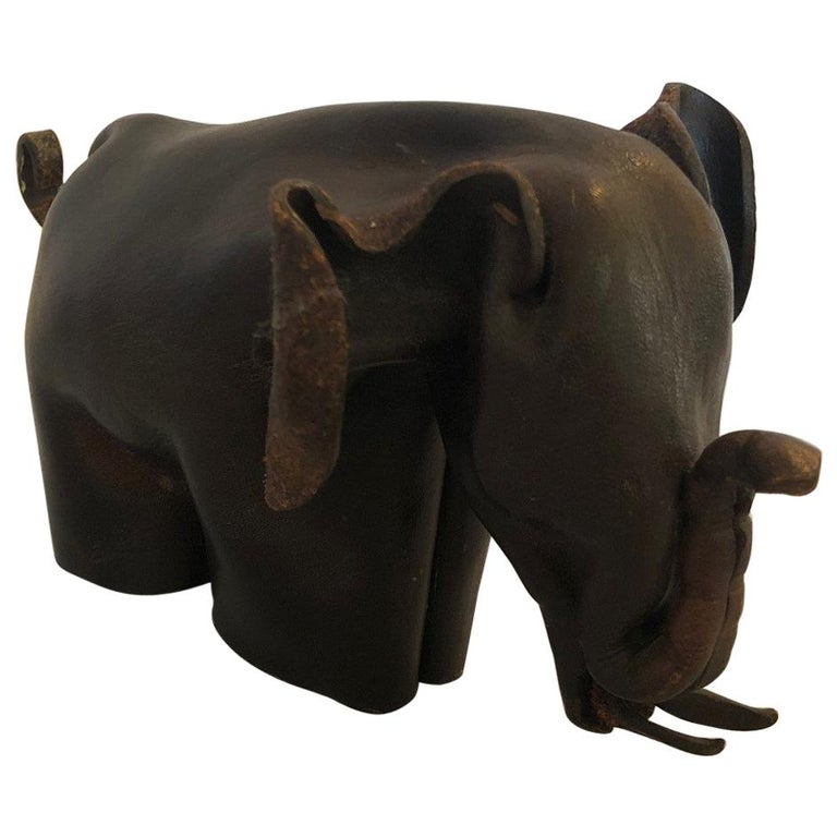 Mid-Century Modern Leather Origami Elephant Sculpture For Sale