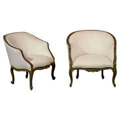 Pair of 18th Century Venetian Painted Bergere Chairs