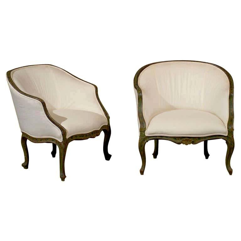 Pair of 18th Century Venetian Painted Bergere Chairs For Sale