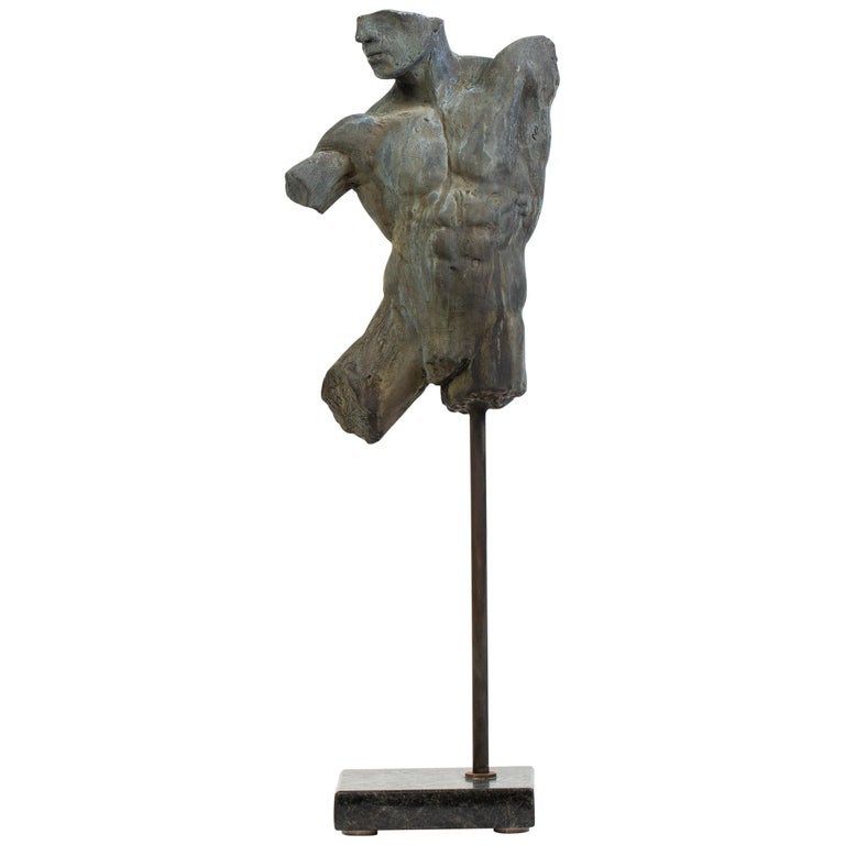 Iron Relic, Classical Male Nude Torso Fragment Sculpted in Bronze For Sale