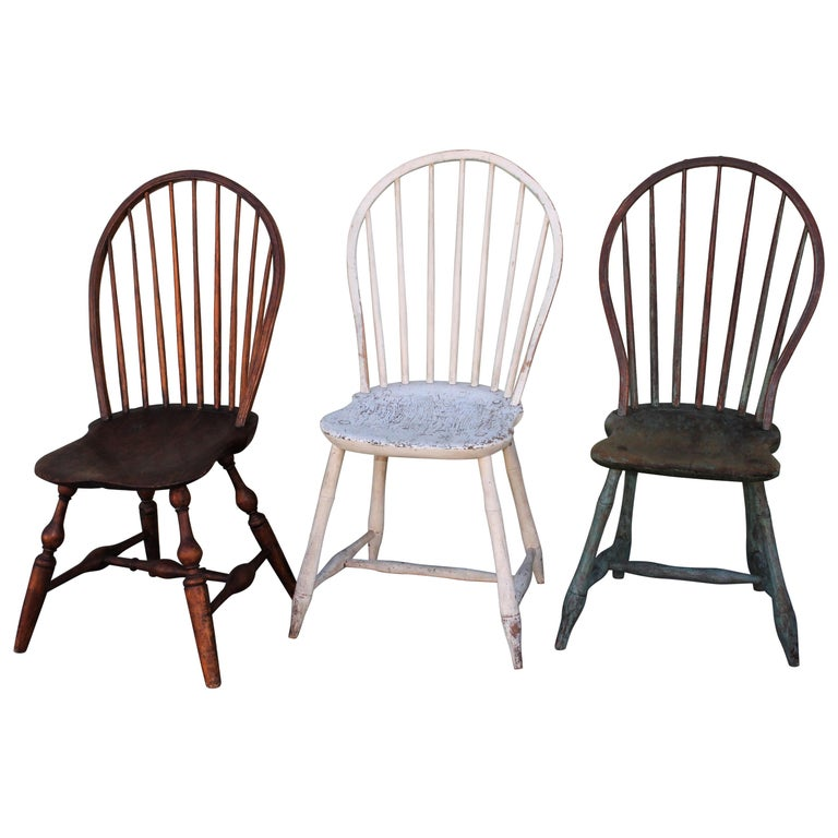 19th Century Windsor Chair Collection / 3 For Sale
