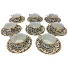 Christian Dior Renaissance Porcelain Set of Eight Teacups and Saucers