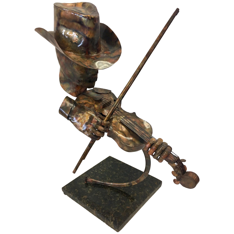 Signed Brutalist Style Metal Sculpture Joseph Q. Music Figure Marble Base