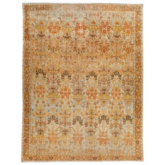 Antique Tan and Blue Persian Malayer Wool Scatter Rug