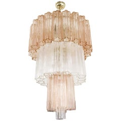 Pink and Clear Murano Tronchi Chandelier by Venini
