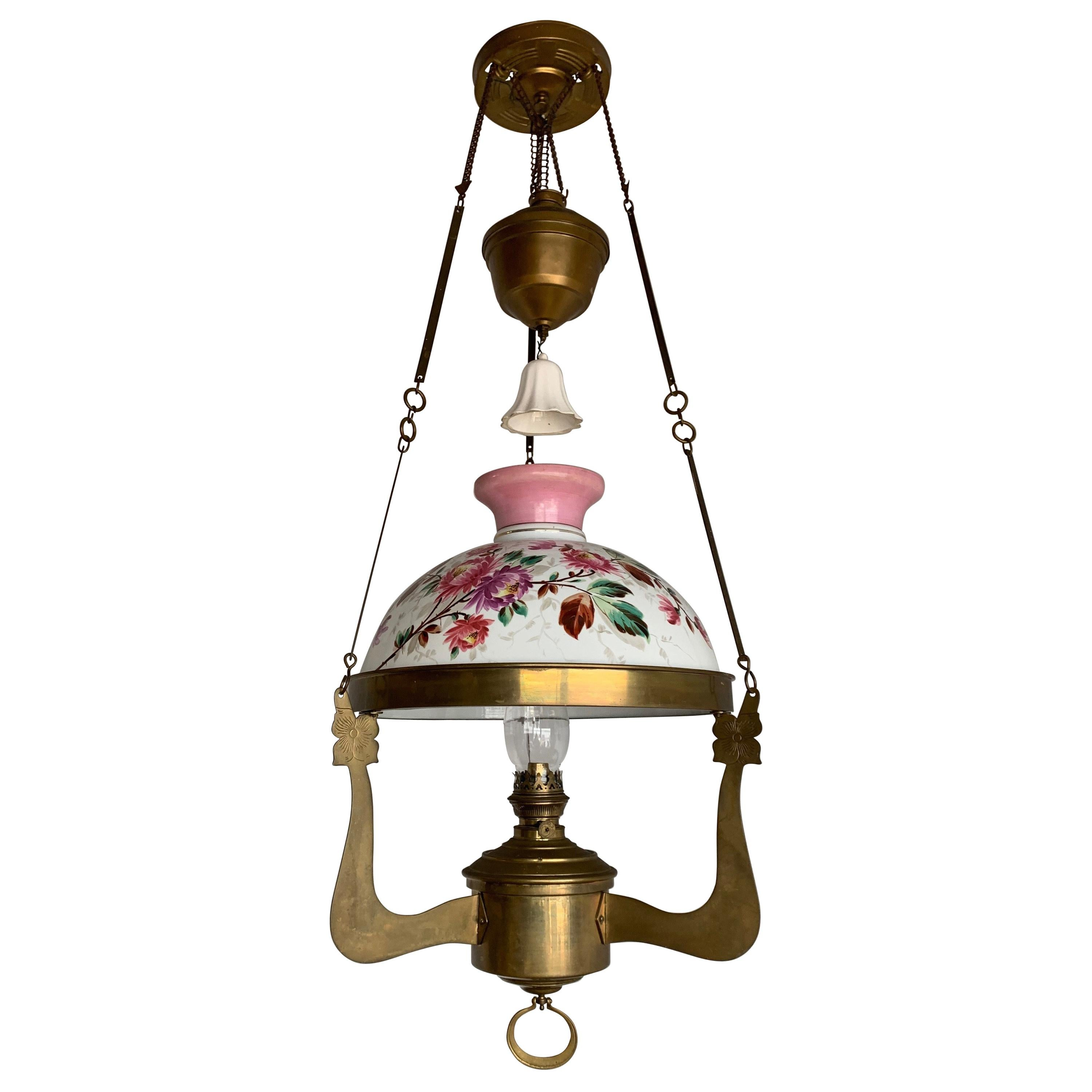Arts & Crafts Brass and Opaline Shade Oil Lamp or Adjustable Floral Chandelier