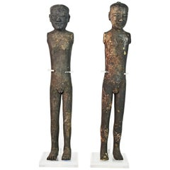 Two Rare Chinese Nude Male Ceramic Stick Figures, Han Dynasty, 206 BC-220 AD