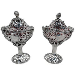 Pair of English Sterling Silver and Red Glass Strawberry Jam Compotes