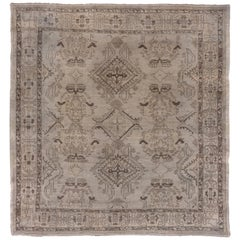 Square Oushak Carpet, circa 1910s