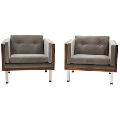 Pair of Lounge Chairs in Rosewood and Gray Velvet by Jydsk Møbelværk
