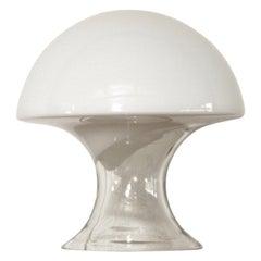 Midcentury Italian Gino Vistosi White Murano Glass Mushroom Table Lamp, 1970s