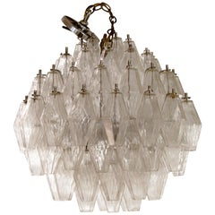Mid-Century Modern Murano Glass Polyhedral Chandelier by Venini, Italy, 1960s