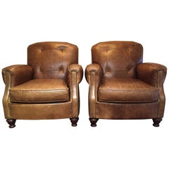 Pair of Manly Distressed Leather Club Chairs by Century