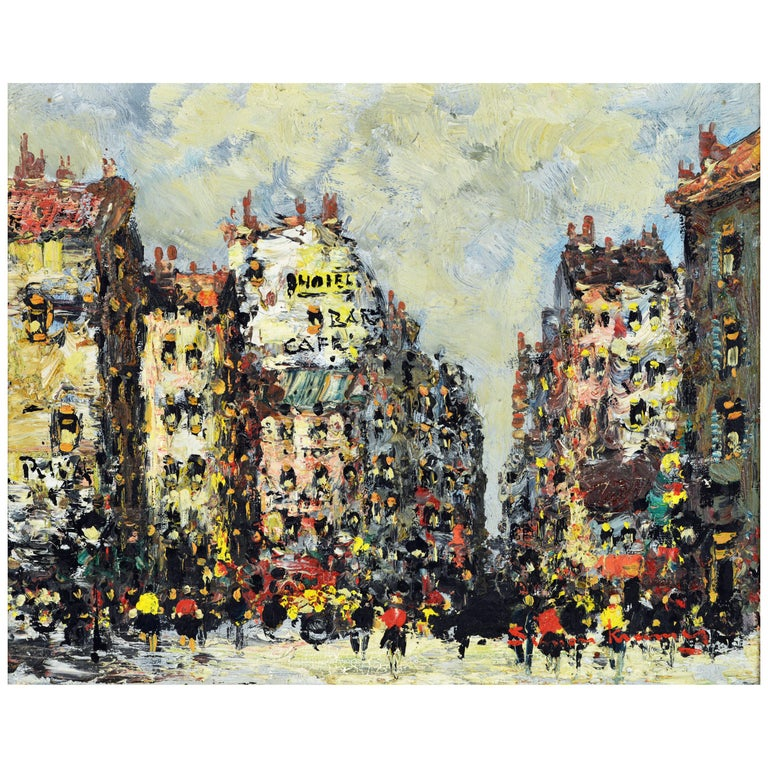 Lively Impressionist Style Paris Street Painting by Simon Kramer Dutch 1940-2015 For Sale