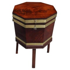 English Regency Mahogany Octagon Brass Banded Wine Cellarette on Stand, C. 1810