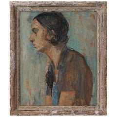 Oil Painting of a Youth, France, 20th Century
