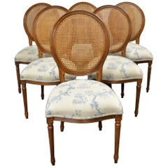 Set of 6 Louis XVI Style Oval and Caned Back Dining Chairs Seat in Printed Linen