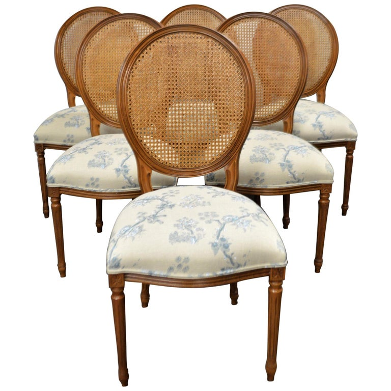 Set of 6 Louis XVI Style Oval and Caned Back Dining Chairs Seat in Printed Linen For Sale