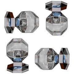 Midcentury Motoko Ishii Sconces Wall Lights, Chrome-plated and Tinted Glasses