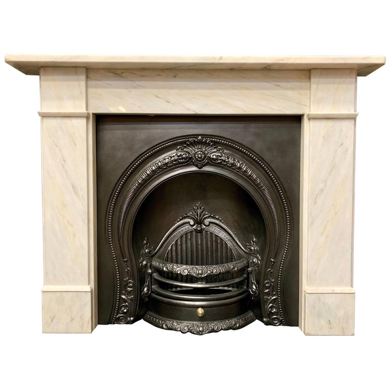 Victorian Style Statuary Marble Fireplace Surround For Sale