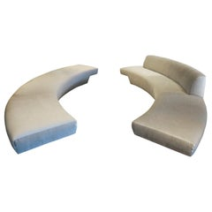 Pair of Long Curved Sofas from the John Lautner Elrod House, Rare Opportunity