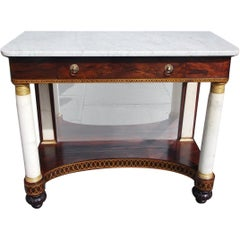 American Kingswood Ormolu Marble and Gilt Stenciled Console,  Meeks, NY. C. 1815