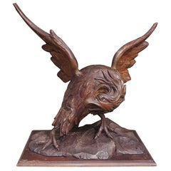American Walnut Carved Spread Wing Eagle Perched to Flee on Rocky Plinth C. 1830