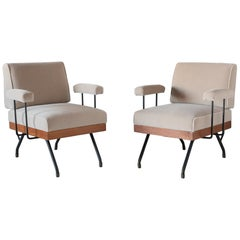 Pair of Mohair, Metal, and Wood Modern Armchairs, Italy, circa 1960