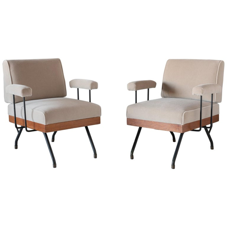 Pair of Mohair, Metal, and Wood Modern Armchairs, Italy, circa 1960   For Sale