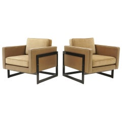 Pair Lounge Chairs by Milo Baughman, Camel / Tan Mohair and Leather, Beautiful