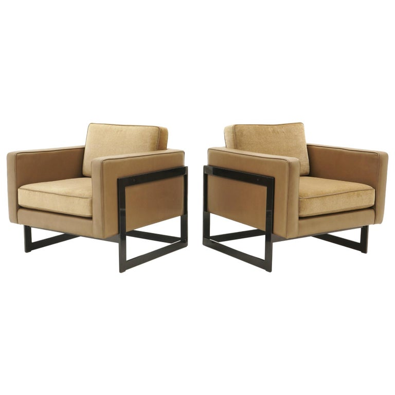 Pair Lounge Chairs by Milo Baughman, Camel / Tan Mohair and Leather, Beautiful For Sale