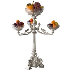 Early Victorian Silver and Glass Table Centrepiece or Epergne Birmingham, 1874