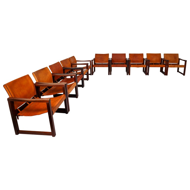 Ten Midcentury Safari Lounge Chairs in Patinated Cognac Saddle Leather, 1970s For Sale