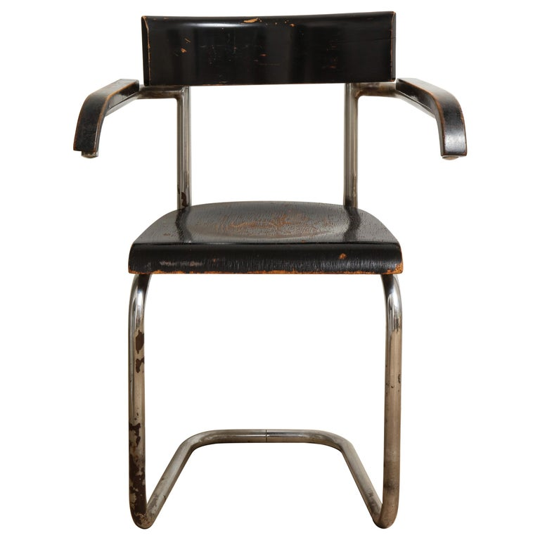 Bauhaus Tubular Chromed Steel and Beech Armchair by Mart Stam for Thonet For Sale