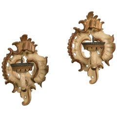 Pair Antique French Rococo Painted Gilded Sconces, circa 1890