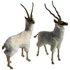 Pair of Brass Gazelle or Antelope Sculptures in Sheep Fur