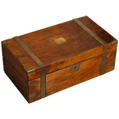 19th Century English Mahogany Military Campaign Writing Box