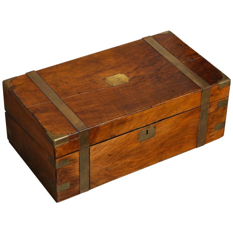 19th Century English Mahogany Military Campaign Writing Box For Sale