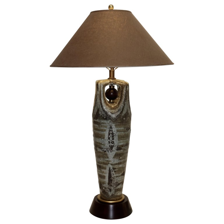 American Midcentury Large Glazed Stoneware Lamp For Sale