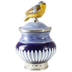 Ceramic and White Metal 'Alpaca' Compote Bird Centrepiece