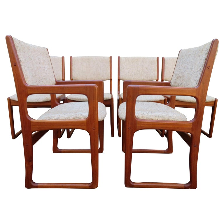 Wondrous Handsome Set Of 6 Danish Benny Linden Teak Dining Chairs Mid Century Modern Bralicious Painted Fabric Chair Ideas Braliciousco