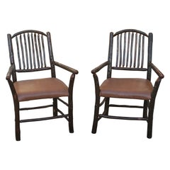 Old Hickory Armchairs, Pair