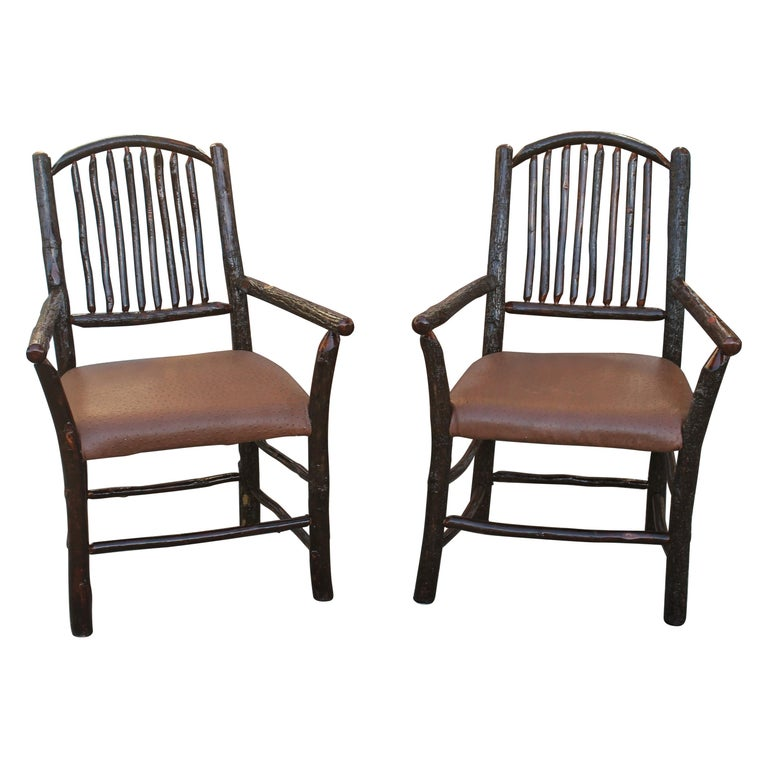 Old Hickory Armchairs, Pair For Sale