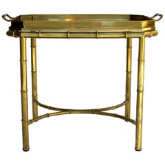 Mastercraft Bamboo Tray Table in Antique Brass, USA, 1960s-1970s