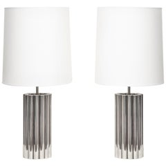 Pair of Table Lamps Architectural Mid-Century Modern Polished Nickel Cylinders
