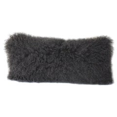 Charcoal Grey Mongolian Fur Pillow - Lumbar Sheepskin pillow